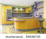 yellow kitchen interior - stock photo