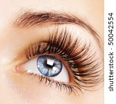 Woman Blue Eye With Extremely...