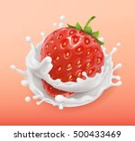 strawberry and milk splash.... | Shutterstock .eps vector #500433469