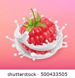 raspberry and milk splash.... | Shutterstock .eps vector #500433505