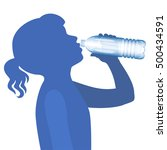 little girl drink water.... | Shutterstock . vector #500434591