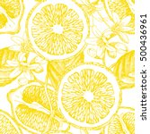 seamless pattern with citrus... | Shutterstock .eps vector #500436961