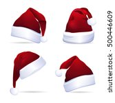 collection of red santa hats.... | Shutterstock .eps vector #500446609