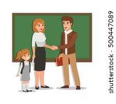 parent meeting with teacher in... | Shutterstock .eps vector #500447089