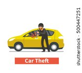 thief steals car. vector... | Shutterstock .eps vector #500447251