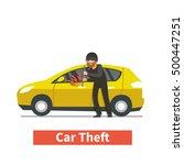 Thief Steals Car. Vector...