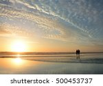 senior couple walking on  beach ... | Shutterstock . vector #500453737