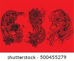 vector set koi with lotus ... | Shutterstock .eps vector #500455279