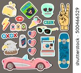 pop art fashion chic patches ... | Shutterstock .eps vector #500466529