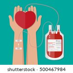 blood bag and hand of donor... | Shutterstock .eps vector #500467984