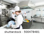 commercial kitchen with chefs... | Shutterstock . vector #500478481