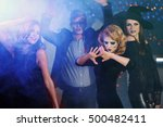 young people in costumes having ... | Shutterstock . vector #500482411