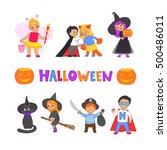 happy halloween. set of cute... | Shutterstock .eps vector #500486011