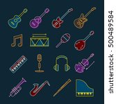 music instruments objects icons ... | Shutterstock .eps vector #500489584