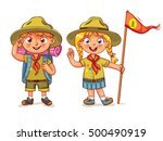 scout boy and scout girl. scout ... | Shutterstock .eps vector #500490919