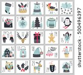christmas advent calendar  hand ... | Shutterstock .eps vector #500496397