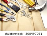 assorted work tools on wood | Shutterstock . vector #500497081
