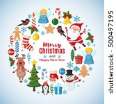 christmas card with santa claus ... | Shutterstock . vector #500497195