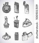 set of vintage lighters.... | Shutterstock .eps vector #500501509