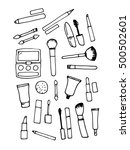 black and white kit beauty tools | Shutterstock .eps vector #500502601