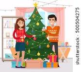 family decorating christmas...   Shutterstock .eps vector #500504275