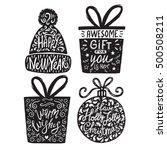 set of christmas silhouette... | Shutterstock .eps vector #500508211