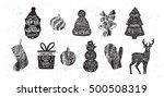 set of christmas silhouette... | Shutterstock .eps vector #500508319
