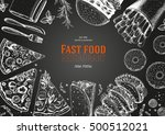 fast food top view frame. fast... | Shutterstock .eps vector #500512021
