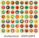 food and drinks icons set. flat ... | Shutterstock .eps vector #500512894