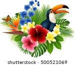 cartoon toucan and butterfly... | Shutterstock .eps vector #500521069