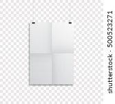 sheet of folded paper hangs on... | Shutterstock .eps vector #500523271