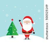 santa claus wave happy snow...   Shutterstock .eps vector #500525149