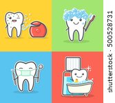 set of cartoon teeth care and...   Shutterstock .eps vector #500528731