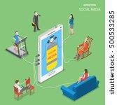 social media addiction flat... | Shutterstock .eps vector #500533285