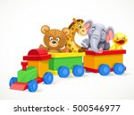 toy train with soft toys... | Shutterstock .eps vector #500546977