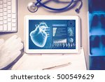 white tablet pc and doctor... | Shutterstock . vector #500549629