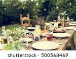table dishware decor dinner... | Shutterstock . vector #500568469