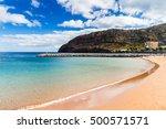 beach on machico bay  madeira... | Shutterstock . vector #500571571