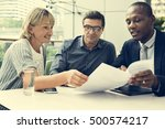 business discussion talking... | Shutterstock . vector #500574217
