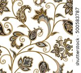 flourish tiled pattern. floral... | Shutterstock .eps vector #500583787