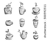 coffee icon handrawn style ... | Shutterstock .eps vector #500592511