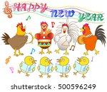 chicken and chick greeting card.... | Shutterstock .eps vector #500596249
