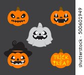 halloween ghost pumpkins | Shutterstock .eps vector #500601949
