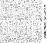 seamless pattern hand drawn... | Shutterstock .eps vector #500624575