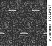 seamless pattern hand drawn... | Shutterstock .eps vector #500624917