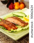 Smoked Salmon Steak with Black Pepper, Herbs Spice - stock photo