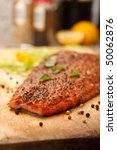 Smoked Salmon Steak with Black Pepper, Herbs Spice, Closeup - stock photo
