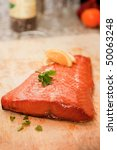 Closeup of Smoked Salmon Steak - stock photo