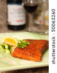 Closeup of Smoked Salmon Steak Dish - stock photo