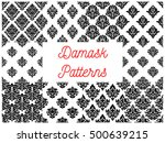black and white damask seamless ... | Shutterstock .eps vector #500639215